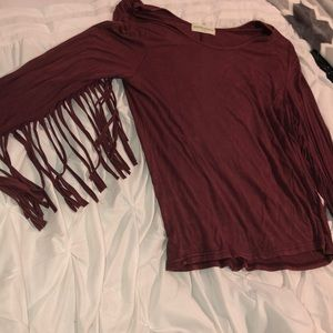 Tops - Women's long sleeve top with fringe